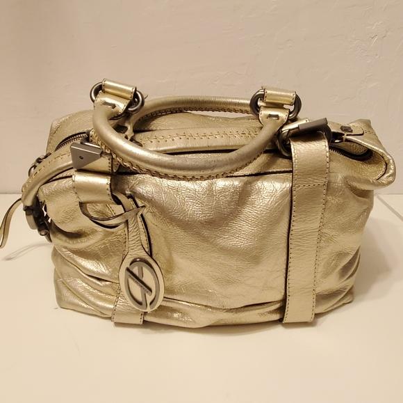 Francesco Biasia gold leather hand/shoulder bag